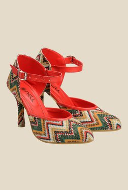 Nell Red & Green Ankle Strap D'orsay Shoes