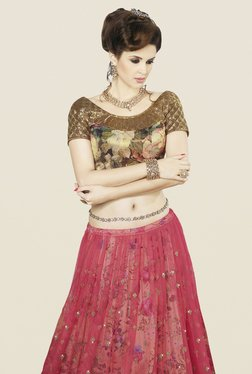 Touch Trends Pink & Gold Floral Print Lehenga Set