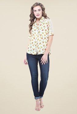 La Stella Beige Floral Print Shirt