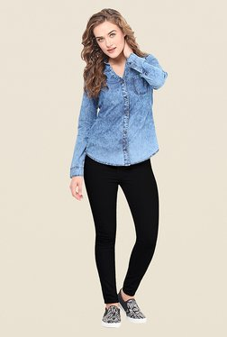 La Stella Blue Solid Shirt