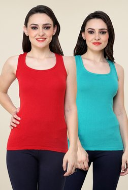 Renka Red & Turquoise Solid Tee (Pack Of 2)