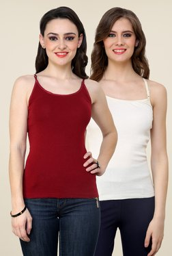 Renka Maroon & Off White Solid Cami Top (Pack Of 2)
