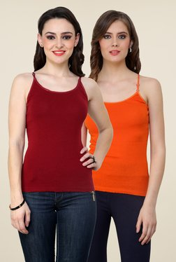 Renka Maroon & Orange Solid Cami Top (Pack Of 2)