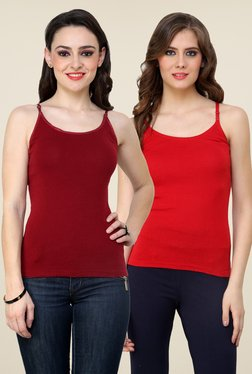 Renka Maroon & Red Solid Cami Top (Pack Of 2)