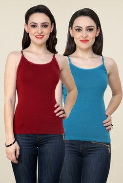 Renka Maroon & Teal Solid Cami Top (Pack Of 2)