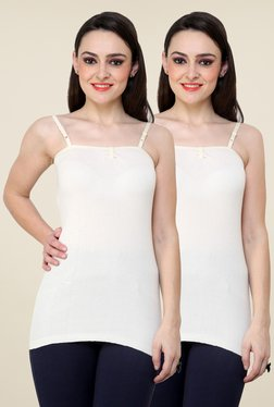 Renka White Solid Cami Top (Pack Of 2)