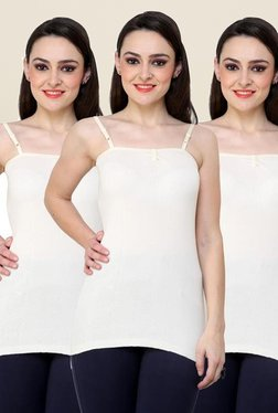 Renka White Solid Cami Top (Pack Of 3)