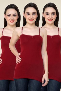 Renka Maroon Solid Cami Top (Pack Of 3)