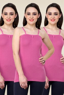 Renka Pink Solid Cami Top (Pack Of 3)