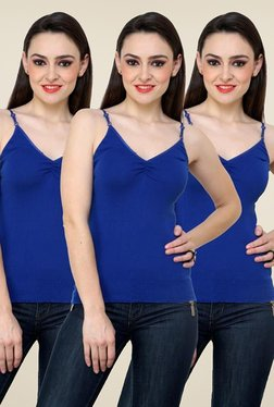 Renka Blue Solid Cami Top (Pack Of 3)
