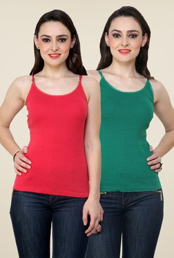 Renka Coral & Green Solid Cami Top (Pack Of 2)