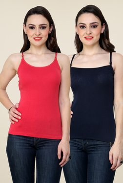 Renka Coral & Navy Solid Cami Top (Pack Of 2)