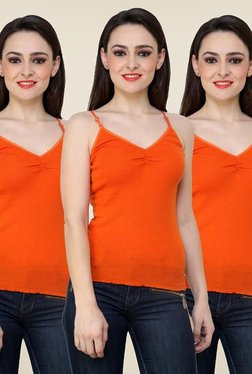 Renka Orange Solid Cami Top (Pack Of 3)
