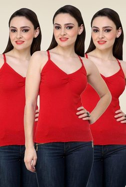 Renka Red Solid Cami Top (Pack Of 3)