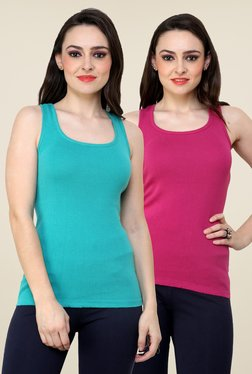Renka Turquoise & Pink Solid Tee (Pack Of 2)