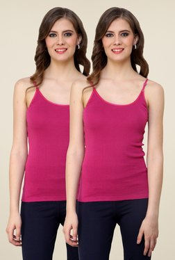 Renka Pink Solid Cami Top (Pack Of 2)