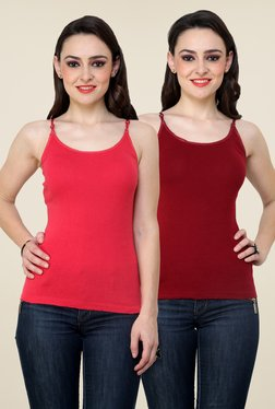 Renka Coral & Maroon Solid Cami Top (Pack Of 2)