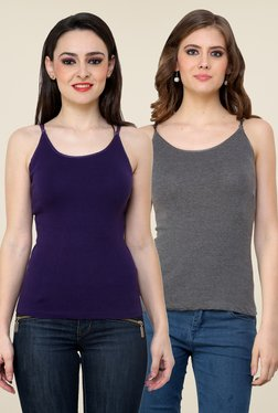 Renka Purple & Grey Solid Cami Top (Pack Of 2)