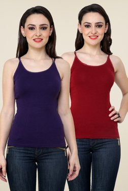 Renka Purple & Maroon Solid Cami Top (Pack Of 2)