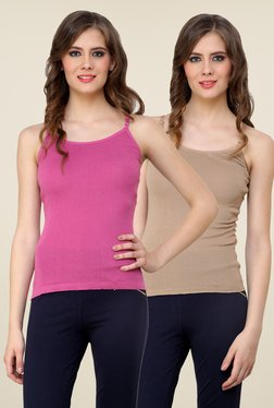 Renka Pink & Beige Solid Cami Top (Pack Of 2)