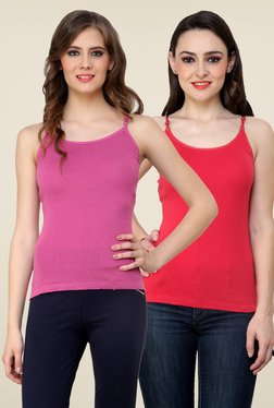 Renka Pink & Coral Solid Cami Top (Pack Of 2)