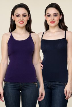 Renka Purple & Navy Solid Cami Top (Pack Of 2)