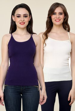 Renka Purple & White Solid Cami Top (Pack Of 2)