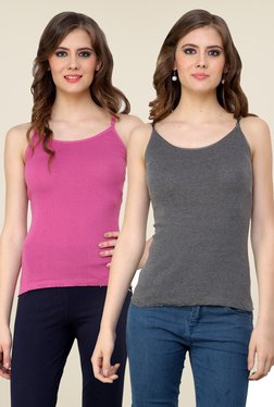 Renka Pink & Grey Solid Cami Top (Pack Of 2)