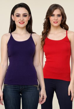 Renka Purple & Red Solid Cami Top (Pack Of 2)