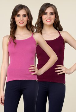 Renka Pink & Wine Solid Cami Top (Pack Of 2)