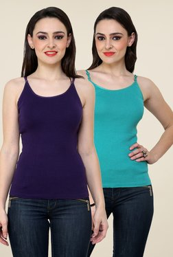 Renka Purple & Teal Solid Cami Top (Pack Of 2)