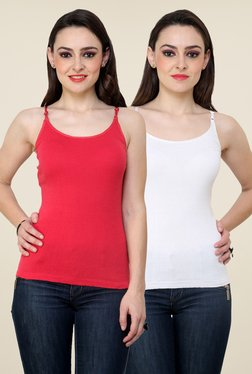 Renka Coral & White Solid Cami Top (Pack Of 2)