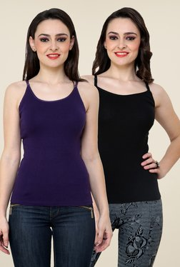 Renka Purple & Black Solid Cami Top (Pack Of 2)