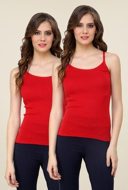 Renka Red Solid Cami Top (Pack Of 2)