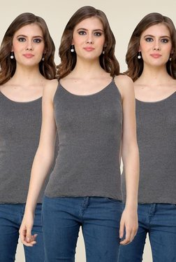 Renka Grey Solid Cami Top (Pack Of 3)