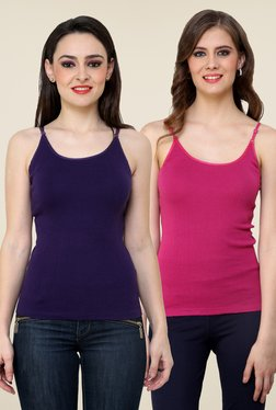 Renka Purple & Pink Solid Cami Top (Pack Of 2)