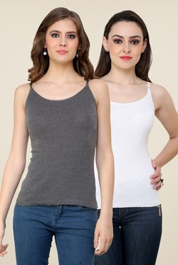 Renka Grey & White Solid Cami Top (Pack Of 2)