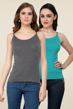 Renka Grey & Turquoise Solid Cami Top (Pack Of 2)