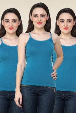 Renka Teal Solid Cami Top (Pack Of 3)