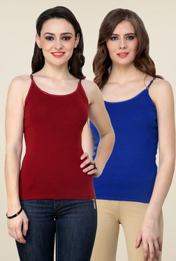 Renka Maroon & Blue Solid Cami Top (Pack Of 2)
