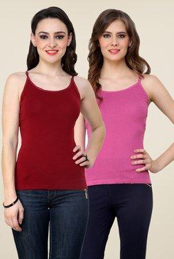 Renka Maroon & Pink Solid Cami Top (Pack Of 2)