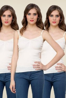 Renka White Solid Cami Top (Pack Of 3) - Mp000000000769284
