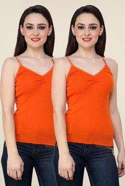 Renka Orange Solid Cami Top (Pack Of 2)
