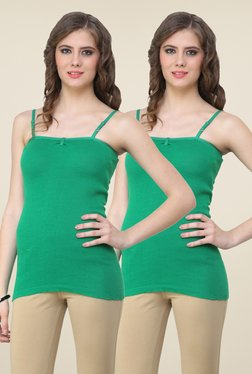 Renka Green Solid Cami Top (Pack Of 2)