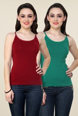 Renka Maroon & Green Solid Cami Top (Pack Of 2)