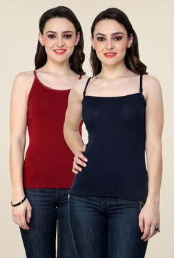 Renka Maroon & Navy Solid Cami Top (Pack Of 2)