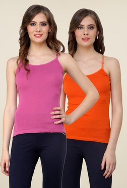 Renka Pink & Orange Solid Cami Top (Pack Of 2)