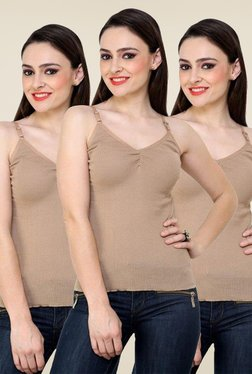 Renka Beige Solid Cami Top (Pack Of 3) - Mp000000000768427