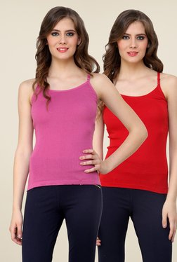 Renka Pink & Red Solid Cami Top (Pack Of 2)