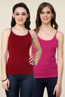 Renka Maroon & Pink Solid Cami Top (Pack Of 2)